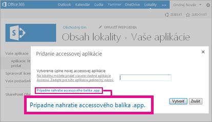 Nahratie balíka accessovej aplikácie na stránke Pridanie aplikácie na lokalite SharePoint