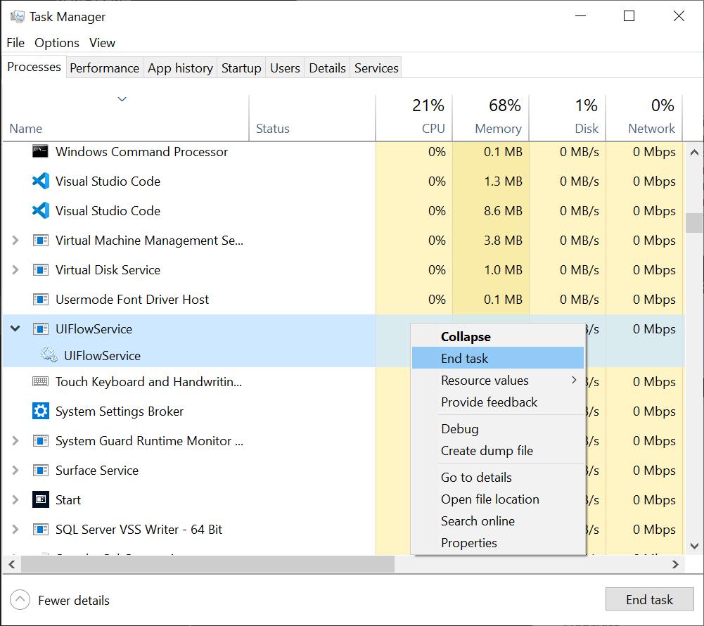 Proces služby flow používateľského rozhrania v snímke obrazovky správcu úloh