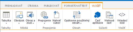 Snímka obrazovky s kartou Vložiť, ktorá obsahuje tlačidlá na vkladanie tabuliek, videí, grafických prvkov a prepojení na vaše stránky lokalít