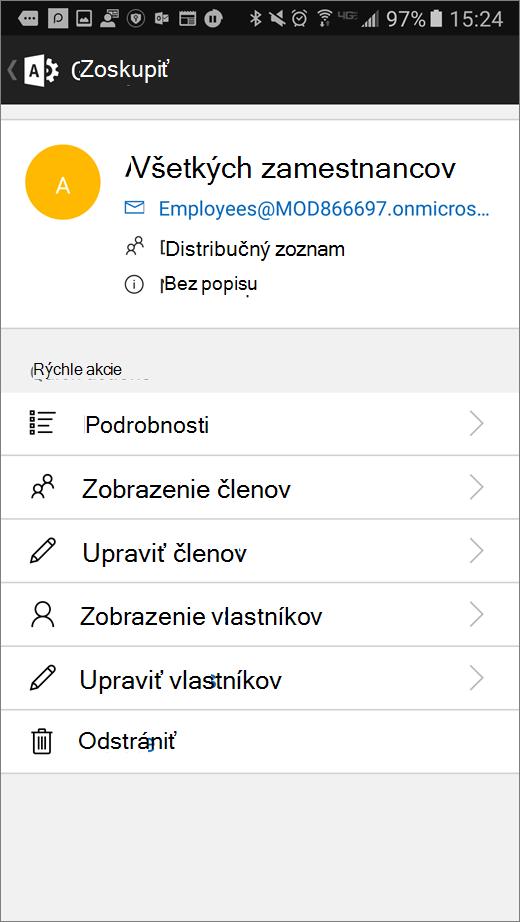 V aplikácii Office 365 Admin vyberte skupinu a môžete upraviť podrobnosti, napríklad členstvo alebo vlastníkov.