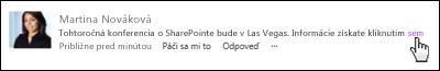 Prepojenie webovej stránky v príspevku naformátovanom so zobrazovaným textom
