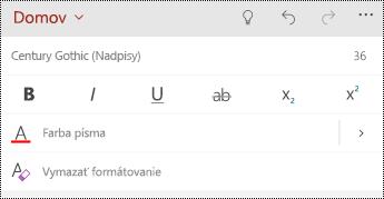Možnosti formátovania textu v programe PowerPoint Mobile pre Windows telefóny.