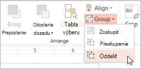Výberom položky oddeliť v ponuke skupiny