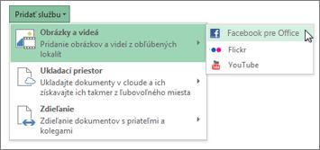 Pridanie služby, ako Flickr alebo Facebook pre Office