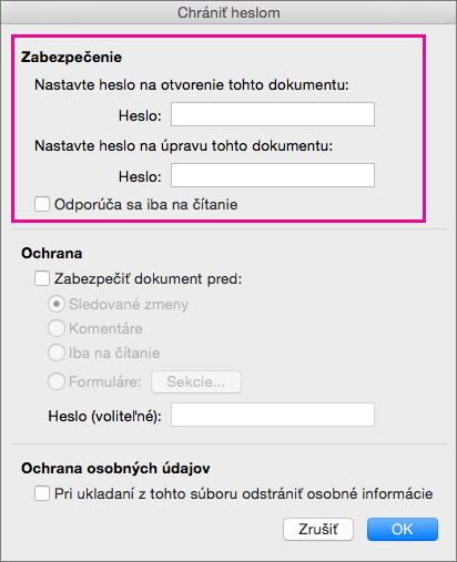 Dialógové okno Ochrana heslom so zvýraznenou položkou Zabezpečenie