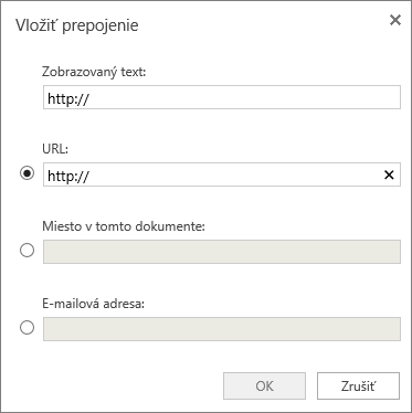 Snímka obrazovky zobrazujúca dialógové okno Vloženie hypertextového prepojenia, kde môžete zadať informácie o zobrazovanom texte, URL adresu, určiť miesto v dokumente alebo špecifikovať e-mailovú adresu.