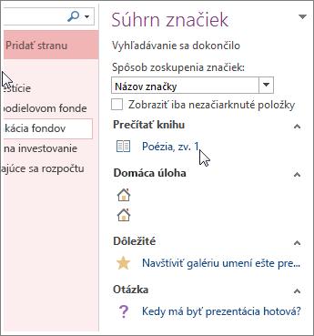 Vyhľadanie poznámok so značkami na table Súhrn značiek