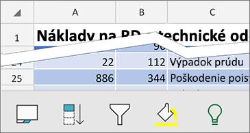 Hárok s dostupnými kontextovými príkazmi v spodnej časti obrazovky