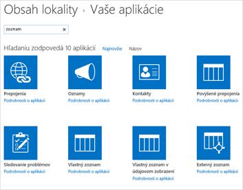 Obrázok stránky obsahu lokality na pridanie aplikácie
