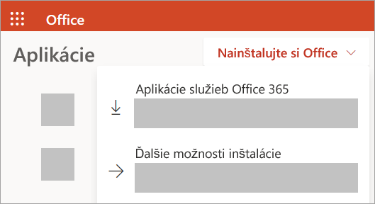 Snímka obrazovky lokality Office.com v prípade prihlásenia s pracovným alebo školským kontom