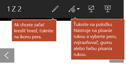 Nástroje na písanie rukou, ktoré sú k dispozícii v zobrazení prezentácie.