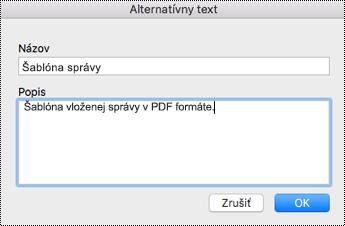 Pridanie alternatívneho textu k vloženým súborom vo OneNote pre Mac