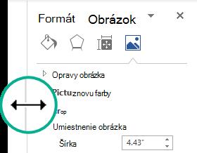 Môžete zmeniť šírku ukotvenom pracovnej tably