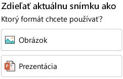 Možnosti formátovania na zdieľanie snímky v PowerPointe pre Android