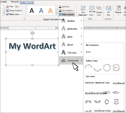 Transformácia textových efektov