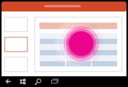 Gesto na výber tabuľky v PowerPointe pre Windows Mobile