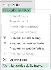 Dialógové okno Excelu Nastavenie poľa hodnoty