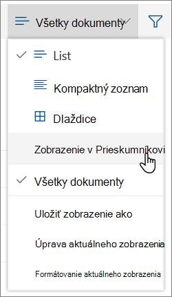 Všetky dokumenty ponuky otvorte Prieskumníka zvýraznená