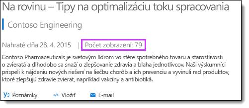 Štatistika zobrazení portálu Office 365 Video