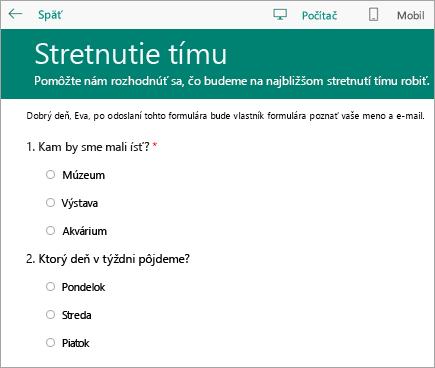 Režim ukážky formulára triedneho prieskumu vpočítači