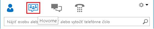 Snímka obrazovky sikonami zobrazení vhlavnom okne Lyncu svybratou možnosťou Hovorňa