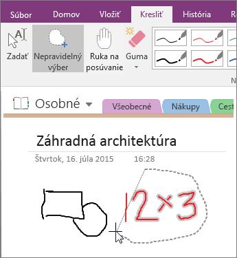 Snímka obrazovky spostupom použitia tlačidla nepravidelného výberu vo OneNote 2016.