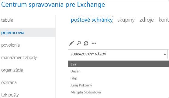 Vyhľadanie poštových schránok v Centre spravovania pre Exchange s cieľom odstránenia chyby DSN 5.7.134