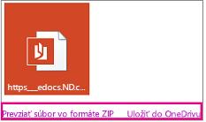 E-mail sprílohou. Zvýraznené prepojenia Stiahnuť aUložiť do OneDrivu