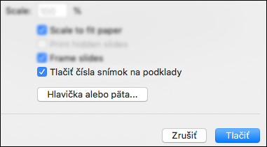Dialógové okno Tlačiť so zobrazenou možnosťou Tlač čísel snímok na podklady.