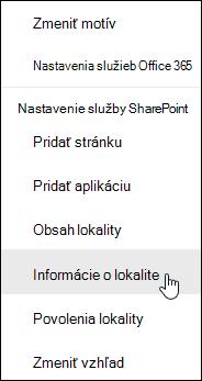 Prepojenie na informácie lokality SharePoint