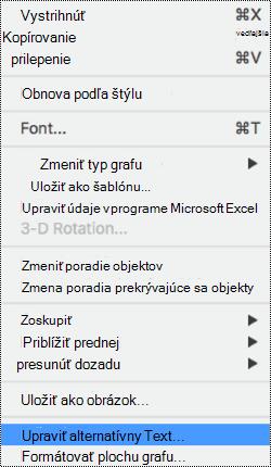 Kontextová ponuka pre grafy s vybratou možnosťou alternatívny text.