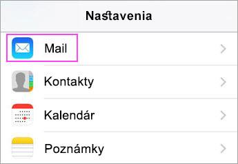Nastavenie zariadenia > Pošta