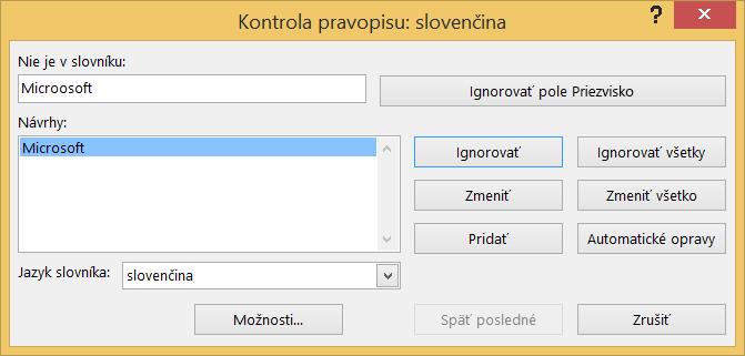 Dialógové okno Kontrola pravopisu