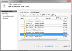 Vyberte dialógové okno zdroja údajov