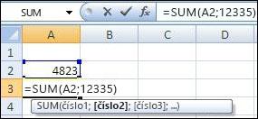 Použitie funkcie SUM na sčítanie bunky a hodnoty