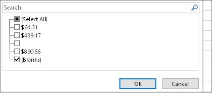 Ponuka Filter so zrušeným výberom políčka Vybrať všetko, začiarknuté políčko (Prázdne polia)