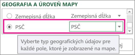 Poštové smerovacie číslo sa mapuje na PSČ