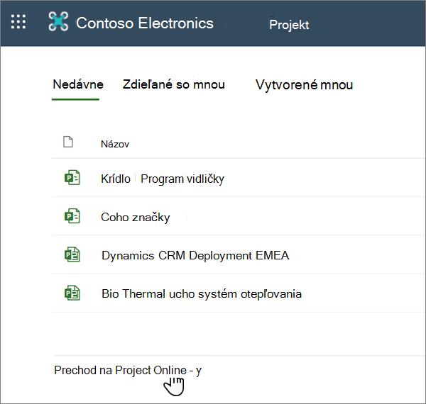 Možnosť prejsť na webovú aplikáciu Project Web App v Projecte
