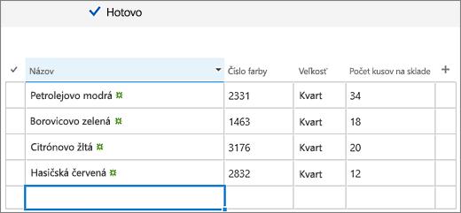 Obrazovka Rýchle úpravy spridanými stĺpcami azadanými údajmi
