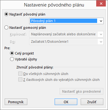 Snímka obrazovky sdialógovým oknom na nastavenie pôvodného plánu.