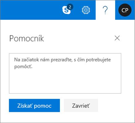 Snímka obrazovky zobrazuje dialógové okno Pomocníka, miesto, kde môžete zadať informácie o probléme, a potom kliknite na tlačidlo získať pomoc.