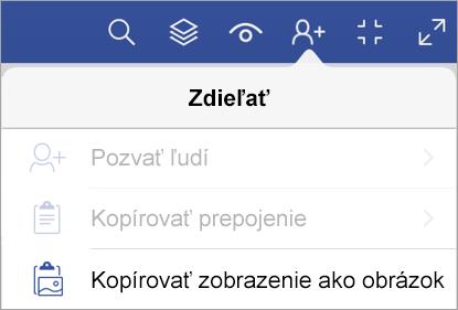 Možnosti zdieľania vo Visio Vieweri pre iPad