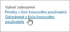 Kôš SharePointu 2013 so zvýraznenou položkou Odstrániť zpoužívateľa