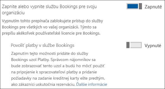 Snímka obrazovky: Zobrazenie ovládacieho prvku služby Bookings zo stránky Služby adoplnky