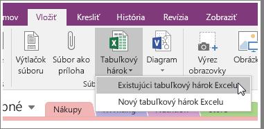 Snímka obrazovky zobrazujúca tlačidlo vloženia tabuľkového hárka vo OneNote 2016.