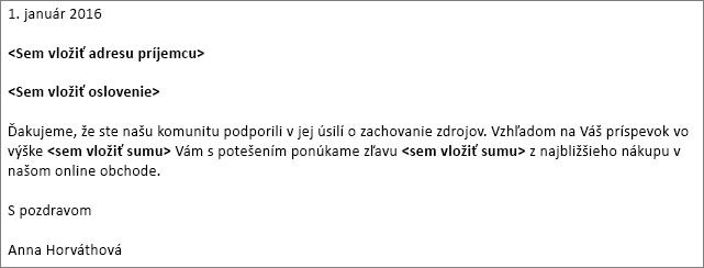 Vzorový list vo Worde použitý na hromadnú korešpondenciu.