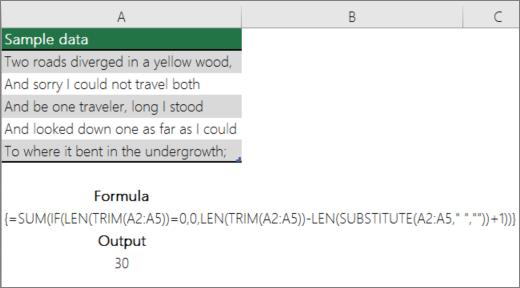 Príklad vnoreného vzorca na spočítanie slov