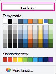Možnosti farby podfarbenie farbou bez zvýraznená.