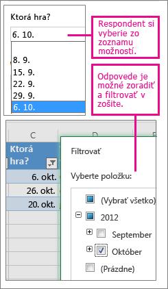 Výber zo zoznamu možností zjednodušuje zoraďovanie a filtrovanie