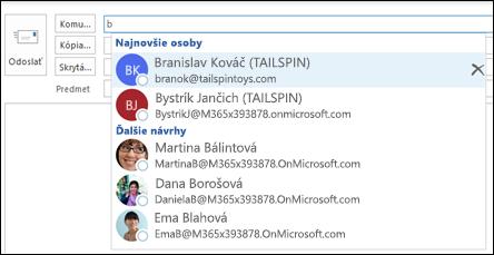 Zoznam automatického dokončovania zobrazuje návrhy adresátov.